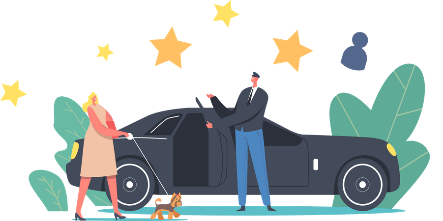 VIP People with Dog on Leash Enter Limousine with Driver Illustration