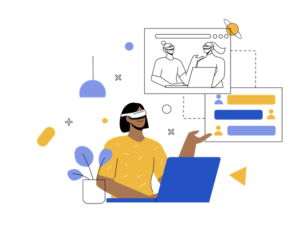 Virtual business meeting Illustration