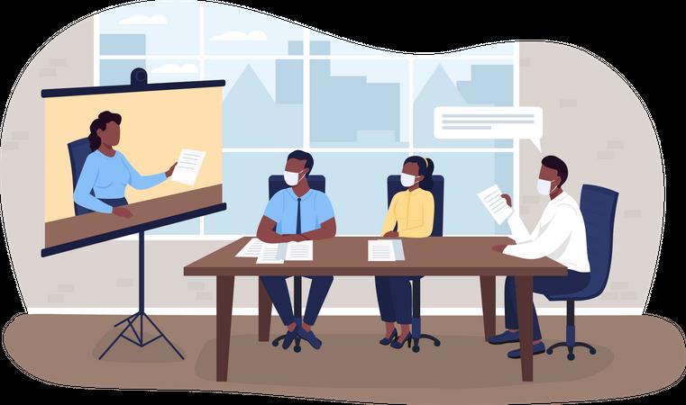 Virtual business meeting during pandemic Illustration