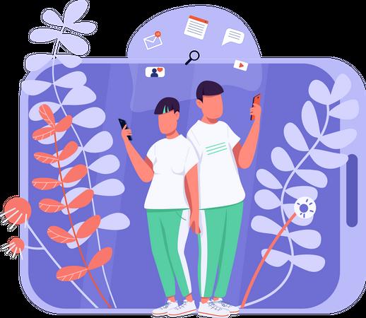 Virtual communication Illustration