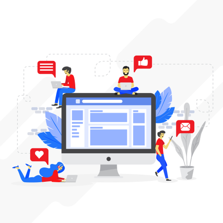 Virtual communication concept Illustration
