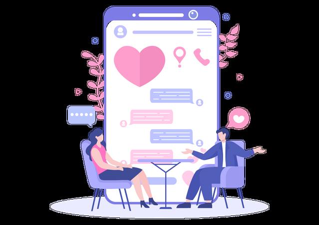 Virtual dating Illustration