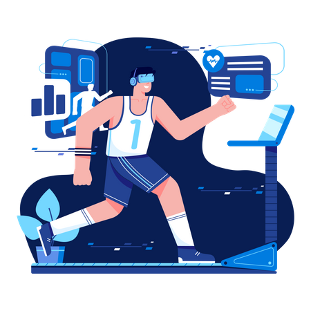 Virtual Fitness using VR Tech Illustration