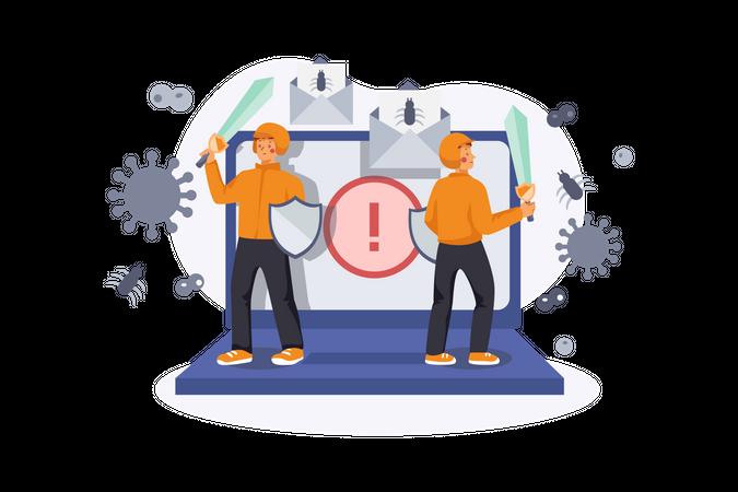 Virus attack Illustration