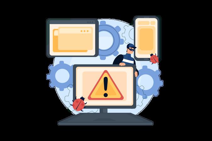 Virus attack from hacker Illustration