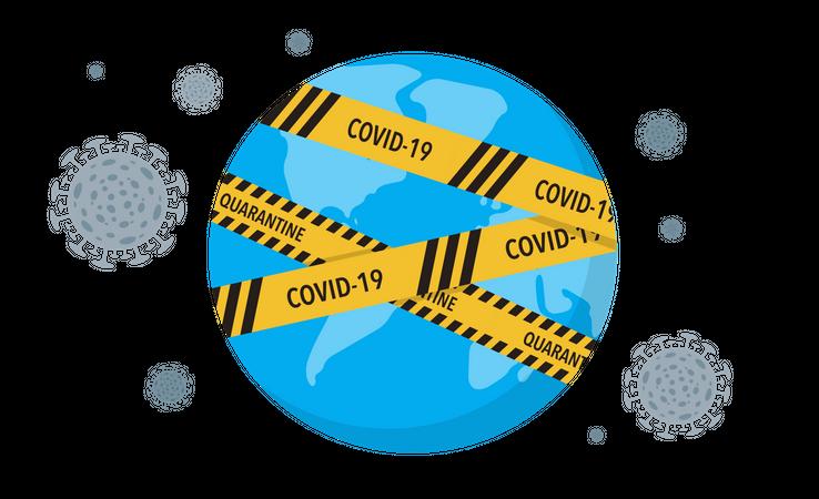 Virus lockdown barrier tape over a world Illustration