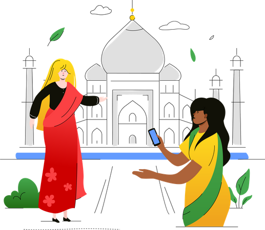 Visit India Illustration