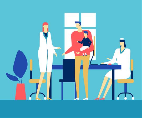 Visiting a doctor Illustration