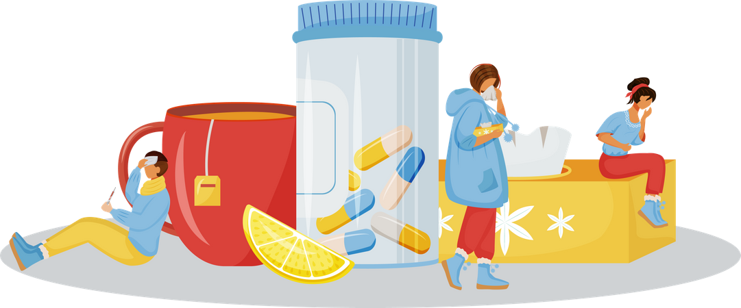 Vitamins for woman sick with cold Illustration
