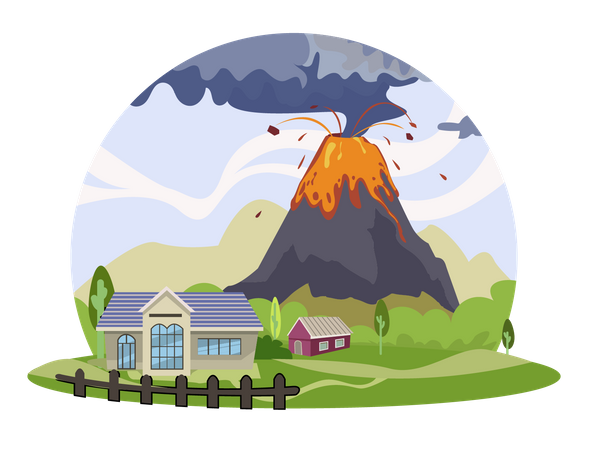 Volcano eruption Illustration