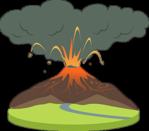 Volcano eruption in rural area Illustration