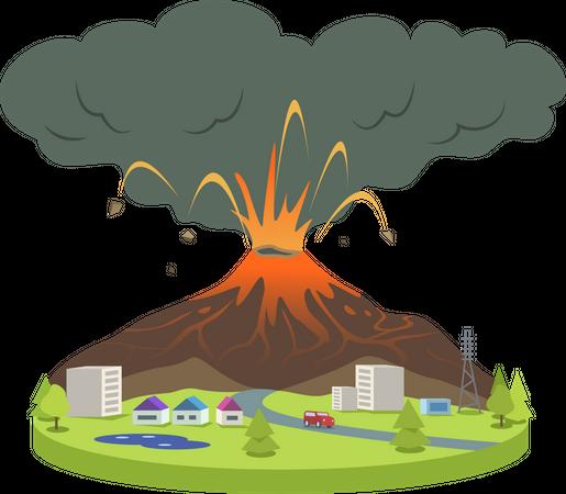 Volcano eruption in small city Illustration