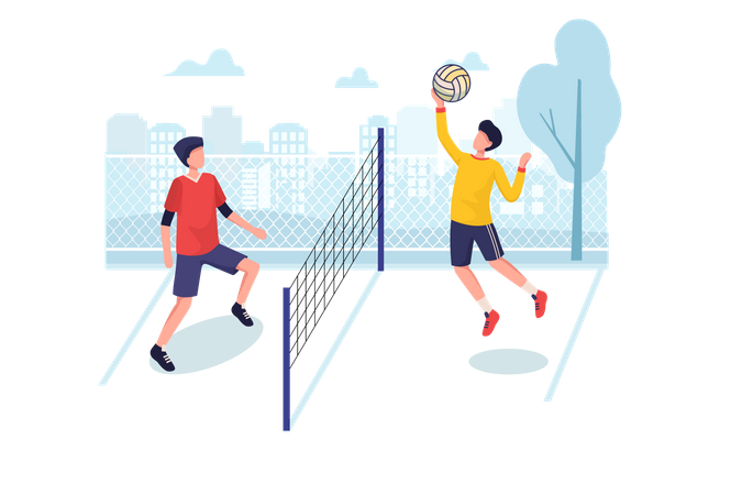 Volley ball players playing volleyball in ground Illustration
