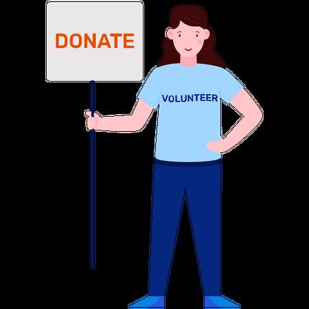 Volunteer girl holding donation board Illustration
