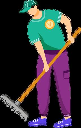 Volunteer working with rake Illustration