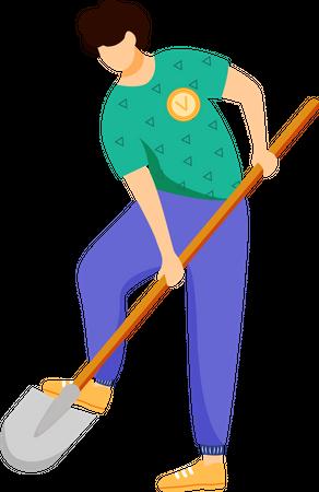 Volunteer working with shovel Illustration