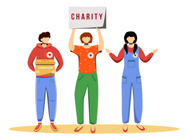 Volunteers collecting donations Illustration