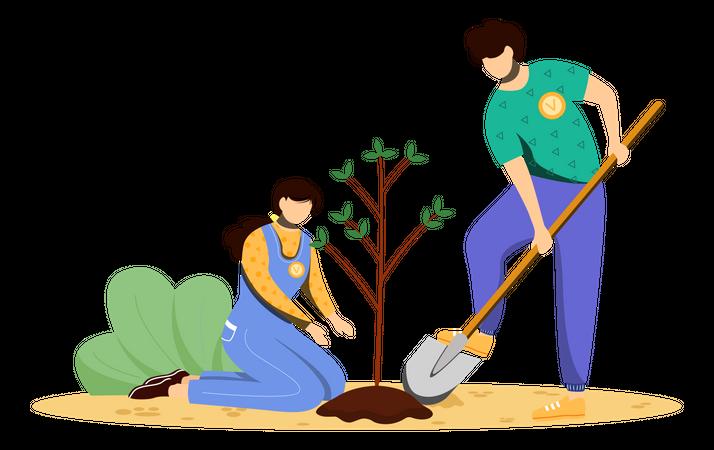 Volunteers planting tree Illustration