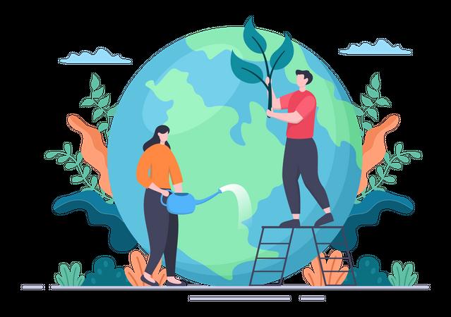 Volunteers planting trees Illustration