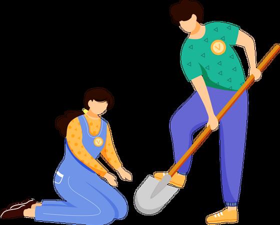 Volunteers working together Illustration