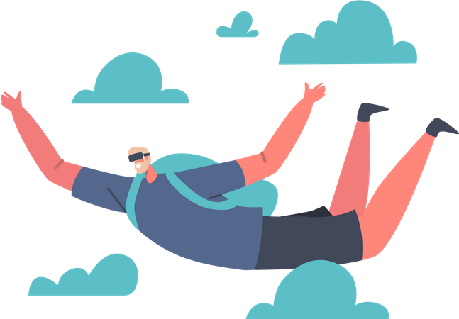 Vr Game Flying with Parachute Illustration