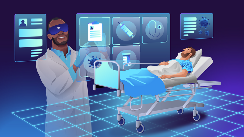 VR treatment of patients with coronavirus infection Illustration