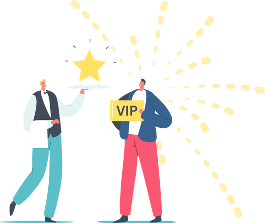 Waiter Carry Shining Star on Tray for Man with VIP Gold Card Illustration