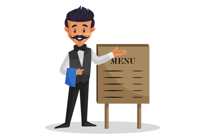 Waiter holding a cloth in hand and showing menu on board Illustration