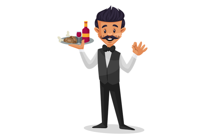 Waiter holding food and bottle plate in one hand and waving other hand Illustration