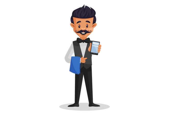 Waiter holding the cloth in one hand and showing mobile in other hand for online billing Illustration