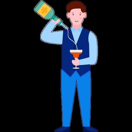 Waiter Serving Wine Illustration