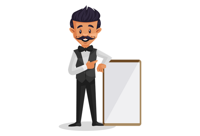 Waiter showing a blank white board Illustration