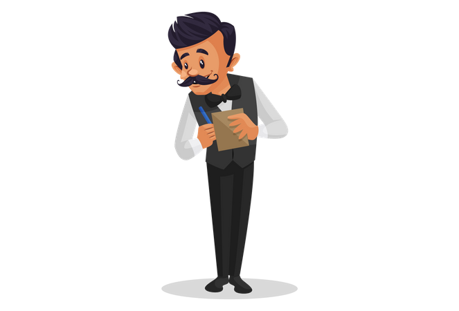 Waiter taking order of the customer with notepad Illustration