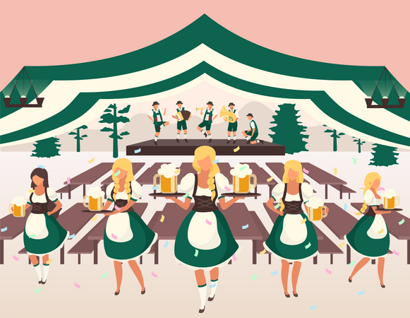 Waiters in national costumes serving drinks Illustration