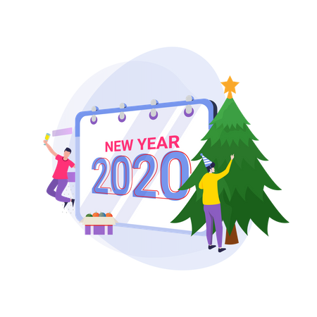 Waiting a New year and decorate a Christmas tree Illustration