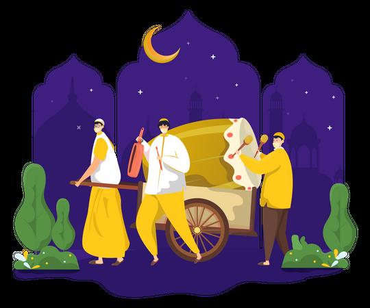 Wake up call for Sahur Ramadan Illustration