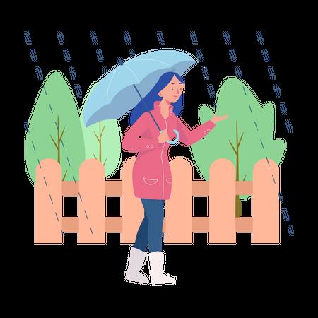 Walking In The Rain Illustration