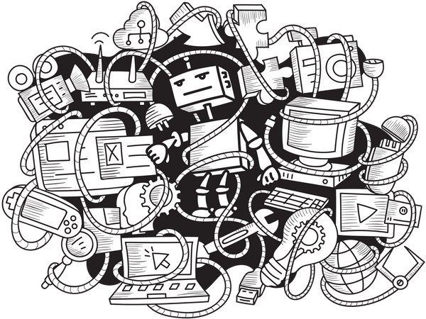 Wall Art of Robot and Gadgets Illustration