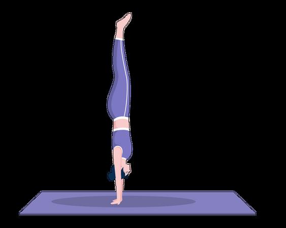Wall Handstand pose Illustration