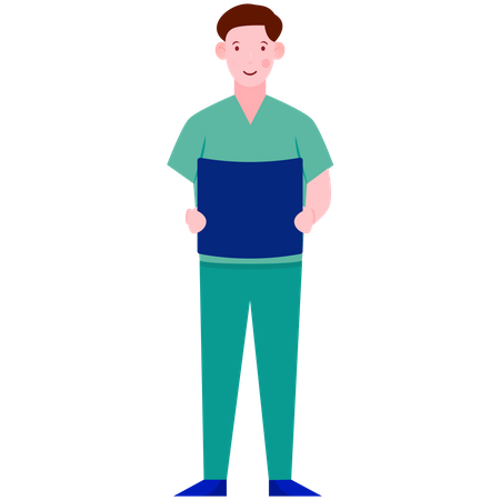 Ward boy Holding Medical Report Illustration