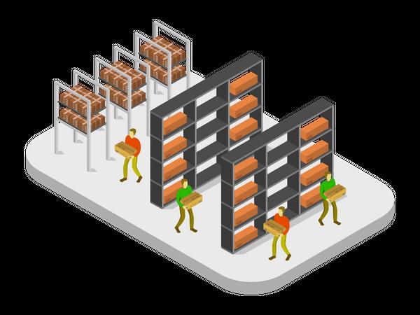 Warehouse Worker arranging boxes Illustration