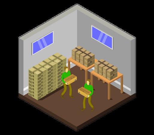 Warehouse worker arranging stock Illustration