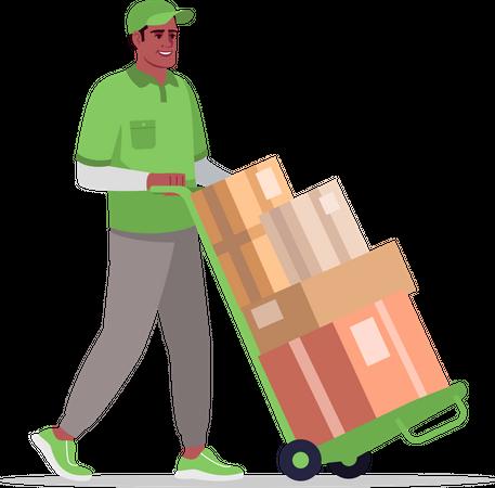 Warehouse worker transporting goods Illustration