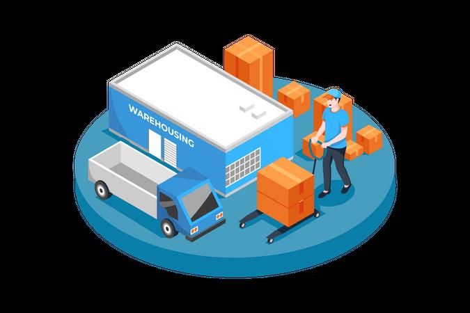 Warehouse worker unloading truck Illustration