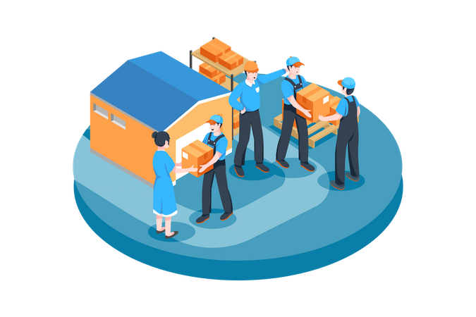 Warehouse workers arranging boxes Illustration