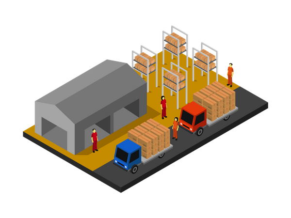 Warehouse Workers loading boxes in truck Illustration