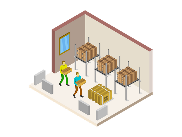 Warehouse Workers putting boxes in warehouse Illustration