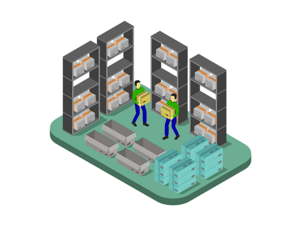 Warehouse Workers working in warehouse Illustration