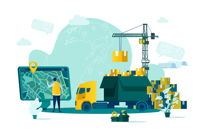 Warehousing and delivery service Illustration