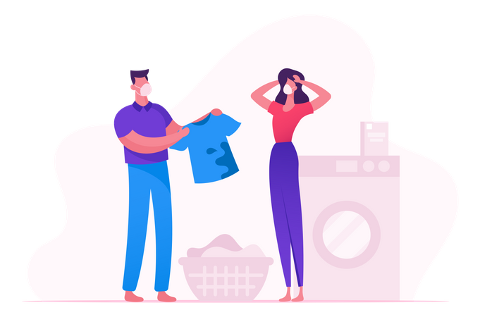 Wash Clothes In Washing Machine During Covid19 Illustration